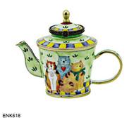 ENK618 Kelvin Chen Three Cowboy Cats Enamel Hinged Teapot