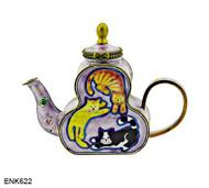 ENK622 Kelvin Chen Three Circling Cats Enamel Hinged Teapot