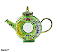 ENK627 Kelvin Chen Cat on Donut Shaped Enamel Hinged Teapot