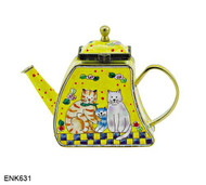 ENK631 Kelvin Chen The Kitty Cat Family Enamel Hinged Teapot
