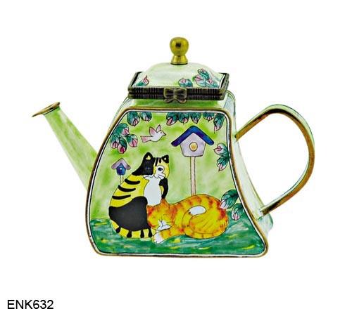 ENK632 Kelvin Chen Cats and Birdhouse Enamel Hinged Teapot