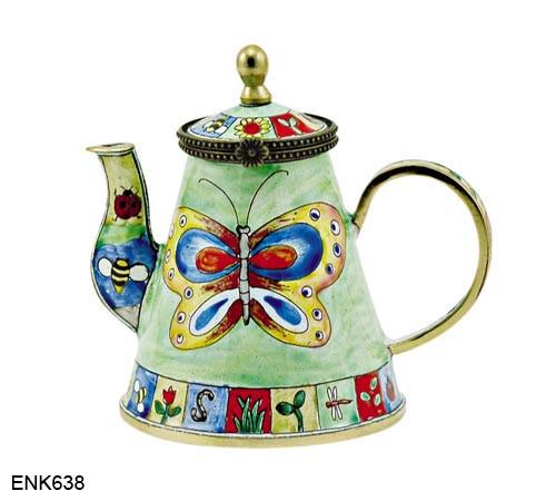 ENK638 Kelvin Chen Butterfly Enamel Hinged Teapot