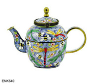 ENK640 Kelvin Chen Dragonfly and Bees Enamel Hinged Teapot