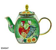 ENK647 Kelvin Chen Rooster Sunflowers Enamel Hinged Teapot