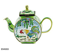 ENK653 Kelvin Chen Rooster Looking Down Enamel Hinged Teapot