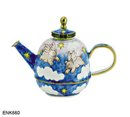 ENK660 Kelvin Chen Pigs Can Fly Enamel Hinged Teapot