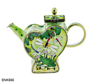 ENK666 Kelvin Chen Frog and Dragonfly Enamel Hinged Teapot