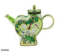 ENK666 Kelvin Chen Frog and Dragonfly Enamel Hinged Teapot
