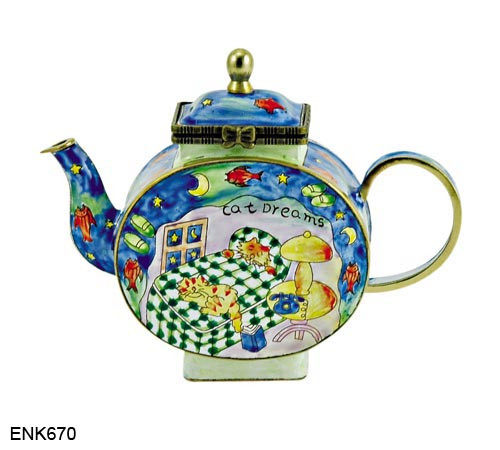 ENK670 Kelvin Chen Cat Dreams Enamel Hinged Teapot