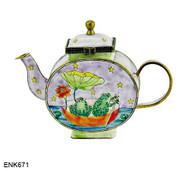 ENK671 Kelvin Chen Frogs in Boat Enamel Hinged Teapot