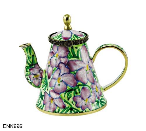 ENK696 Kelvin Chen Bird-foot Violets Enamel Hinged Teapot