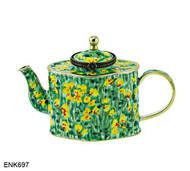 ENK697 Kelvin Chen Monkey Flowers Enamel Hinged Teapot