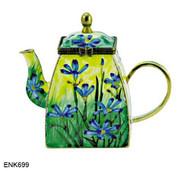ENK699 Kelvin Chen Blue-eyed Grass Enamel Hinged Teapot