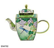 ENK702 Kelvin Chen Dragonfly on Plant Enamel Hinged Teapot