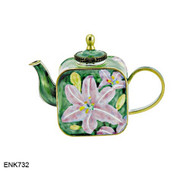 ENK732 Kelvin Chen Asiatic Lilies Enamel Hinged Teapot