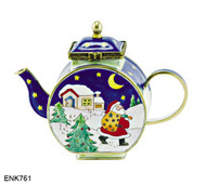 ENK761 Kelvin Chen Santa Walking on Snow Enamel Hinged Teapot