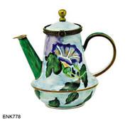 ENK778 Kelvin Chen John Le Farge Morning Glory Enamel Hinged Teapot