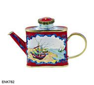 ENK782 Kelvin Chen Vincent Van Gogh Fishing Boats Enamel Hinged Teapot