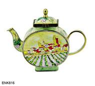 ENK816 Kelvin Chen Vincent Van Gogh View of Saintes-Maries Enamel Hinged Teapot