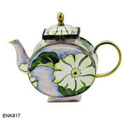 ENK817 Kelvin Chen White Morning Glory Enamel Hinged Teapot