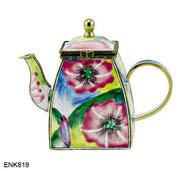 ENK819 Kelvin Chen Pink Morning Glory Enamel Hinged Teapot