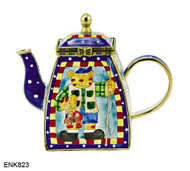 ENK823 Kelvin Chen Cat Fisherman Enamel Hinged Teapot