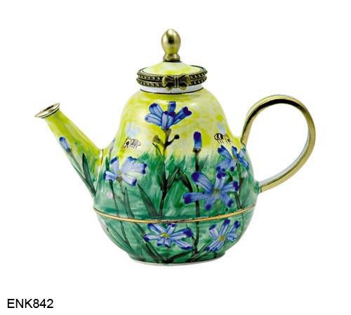 ENK842 Kelvin Chen Bee & Flowers Enamel Hinged Teapot