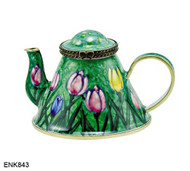 ENK843 Kelvin Chen Mixed Tulips Enamel Hinged Teapot