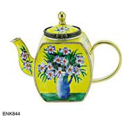 ENK844 Kelvin Chen White Daisies Enamel Hinged Teapot