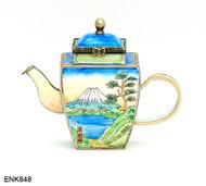 ENK848 Kelvin Chen Fuji Mountain Enamel Hinged Teapot