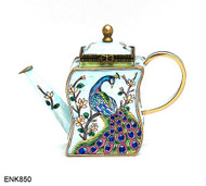 ENK850 Kelvin Chen Peacock Enamel Hinged Teapot