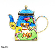 ENK852 Kelvin Chen Dog At Beach Enamel Hinged Teapot