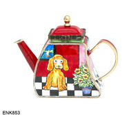 ENK853 Kelvin Chen Puppy at Home Enamel Hinged Teapot