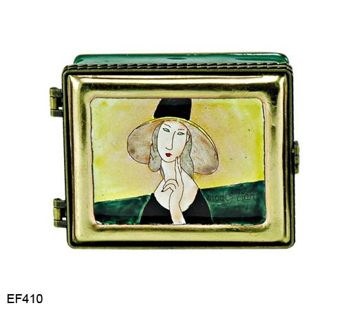 EF410 Kelvin Chen Amadeo Modigliani Lady in Hat Master Painting Enamel Hinged Box