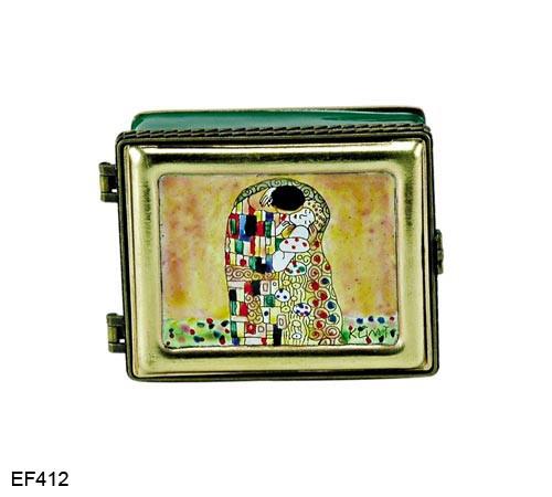 EF412 Kelvin Chen Gustav Klimt Kiss Master Painting Enamel Hinged Box
