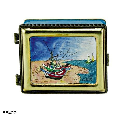 EF427 Kelvin Chen Vincent Van Gogh Fishing boats at Saintes Marie Master Painting Enamel Hinged Box