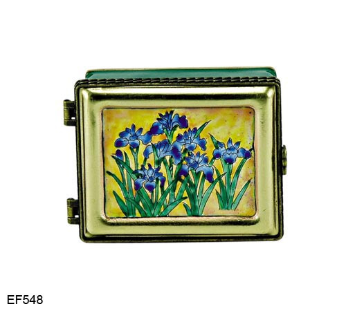 EF548 Kelvin Chen Ogata Korin Japanese Iris Master Painting Enamel Hinged Box