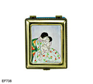 EF738 Kelvin Chen Mary Cassatt Mothers Kiss Master Painting Enamel Hinged Box