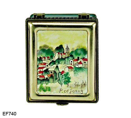 EF740 Kelvin Chen Paul Cezanne Village of Gardanne Master Painting Enamel Hinged Box