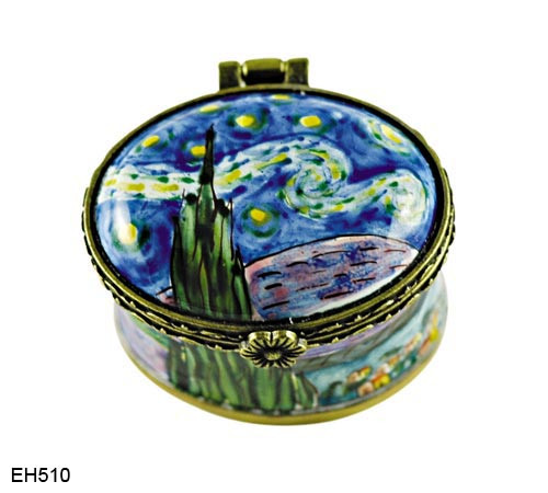 EH510 Kelvin Chen Vincent Van Gogh Starry Night Miniature Enamel Hinged Box