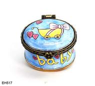 EH517 Kelvin Chen Baby Carriage Miniature Enamel Hinged Box