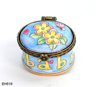 EH519 Kelvin Chen Baby Flower & Butterfly Miniature Enamel Hinged Box