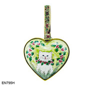 EN795H Kelvin Chen White Cat Heart Enamel Ornament