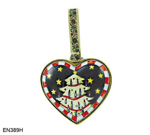 EN389H Kelvin Chen Christmas Tree Heart Enamel Ornament