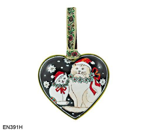 EN391H Kelvin Chen Cats in Hats Heart Enamel Ornament