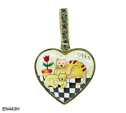 EN443H Kelvin Chen Cats and Flowerpot Heart Enamel Ornament