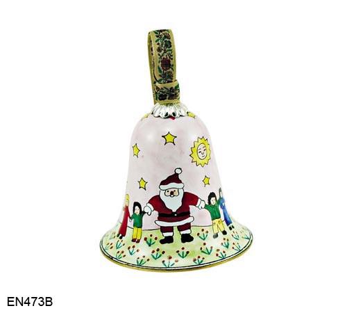 EN473B Kelvin Chen Santa and Children Bell Enamel Ornament