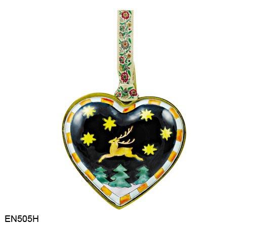 EN505H Kelvin Chen Reindeer Heart Enamel Ornament