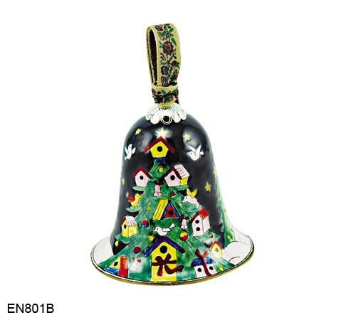 EN801B Kelvin Chen Birdhouse Tree Bell Enamel Ornament