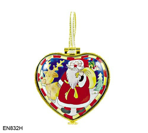 EN832H Kelvin Chen Santa and Reindeer Hinged Heart Enamel Ornament